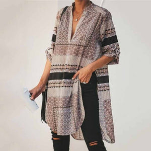 Fashion Casual Loose   Print Long Sleeve Irregular Blouse