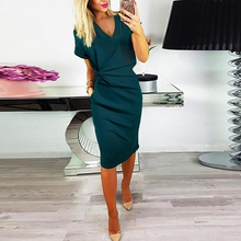 Load image into Gallery viewer, V-Neck Cutout Inverted Pleat  Plain Bodycon Dresses
