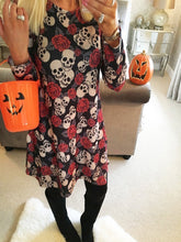 Load image into Gallery viewer, Halloween Skull Print Party Dresses