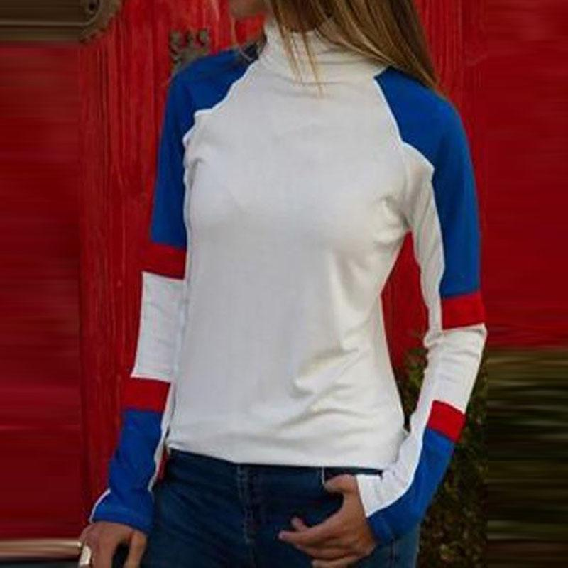 High Neck  Contrast Stitching  Color Block Long Sleeve T-Shirts