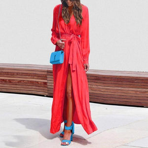 V Collar Shirt Dress For Vacation