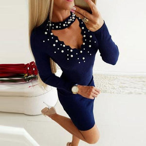 Beading  Plain Bodycon Dresses