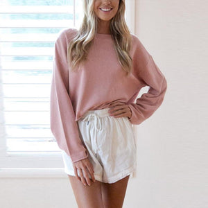 Round Neck  Plain  Sweatshirts