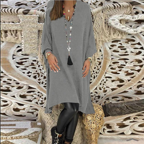 V Neck  Plain  Long Sleeve Casual Dresses