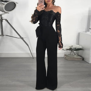 Sexy One Word Neck Off The Shoulder Lacy Embroidered Wide Leg Jumpsuits