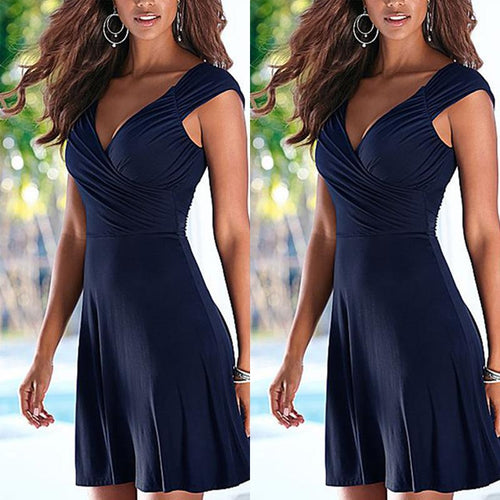 Deep V Neck  Backless  Plain  Short Sleeve Casual Dresses