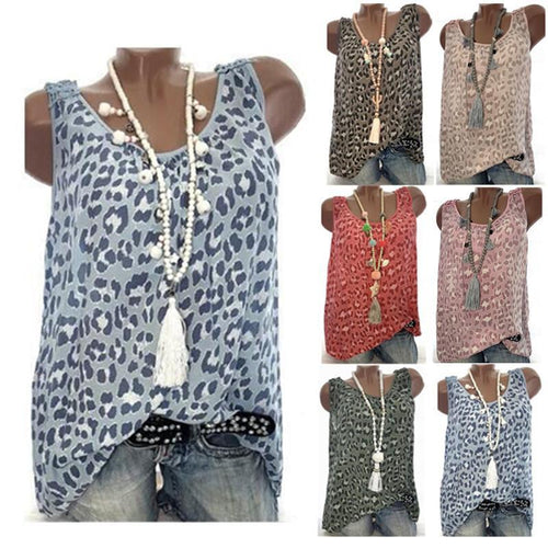 Round Neck Sleeveless Leopard Printed Casual Camis