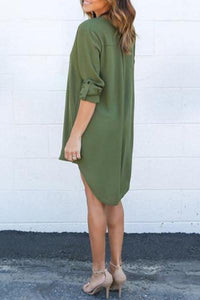 Chiffon Asymmetric Hem Plain Shift Casual Dresses