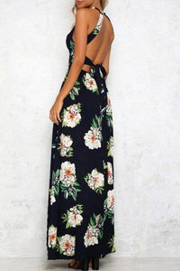 Bohemia Halter Slit Floral Maxi Dress