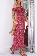 Load image into Gallery viewer, Off Shoulder Slit Printed Maxi Dresses
