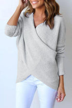 Load image into Gallery viewer, Surplice Curved Hem Long Sleeve Sweater