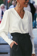Load image into Gallery viewer, Fashion V-Neck Plain Long Sleeve Blouses