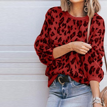 Load image into Gallery viewer, Round Neck  Leopard Printed Sweaters