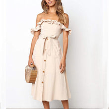 Load image into Gallery viewer, Ruffles Off Shoulder Belt Plain Casual Dresses