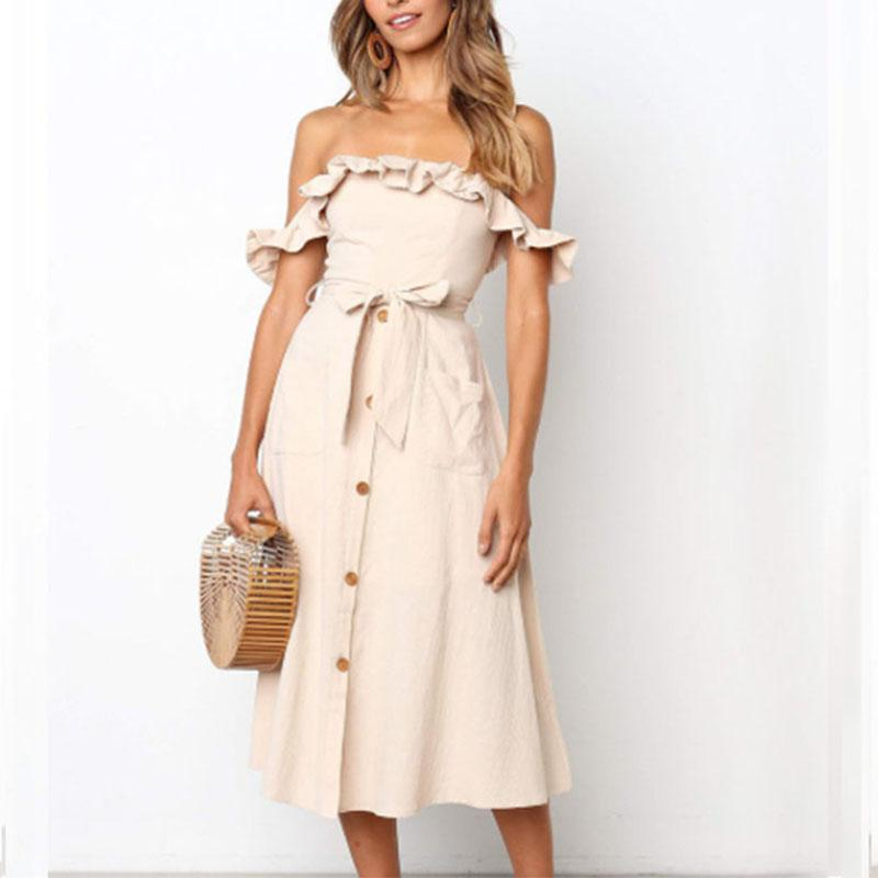 Ruffles Off Shoulder Belt Plain Casual Dresses