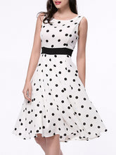 Load image into Gallery viewer, Classic Polka Dot Sleeveless Round Neck Skater Dress