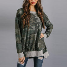 Load image into Gallery viewer, Round Neck  Asymmetric Hem Zipper  Camouflage  Sweatshirts