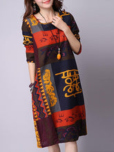 Load image into Gallery viewer, Casual Tribal Printed Round Neck Shift Dress