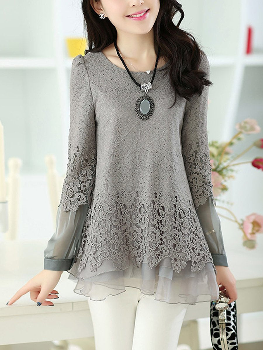 Asymmetric Hem  Hollow Out Plain Long Sleeve T-Shirt