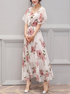 Chic Round Neck  Floral Printed  Chiffon Maxi Dress