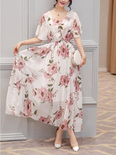 Load image into Gallery viewer, Chic Round Neck  Floral Printed  Chiffon Maxi Dress