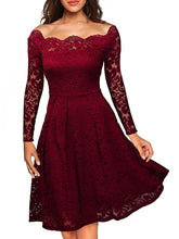 Load image into Gallery viewer, Off Shoulder Lace Hollow Out Plain Skater Dress