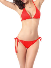 Load image into Gallery viewer, Halter  Drawstring  Plain Bikini