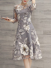 Load image into Gallery viewer, Floral Printed See-Through Midi Skater Dress