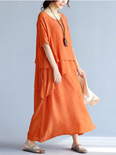 Load image into Gallery viewer, Round Neck  Asymmetric Hem  Plain Maxi Dress