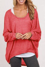 Load image into Gallery viewer, Round Neck  Asymmetric Hem  Plain  Batwing Sleeve Sweaters