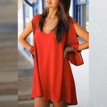 Load image into Gallery viewer, V Neck  Asymmetric Hem  Plain Casual Dresses