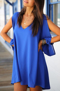 V Neck  Asymmetric Hem  Plain Casual Dresses