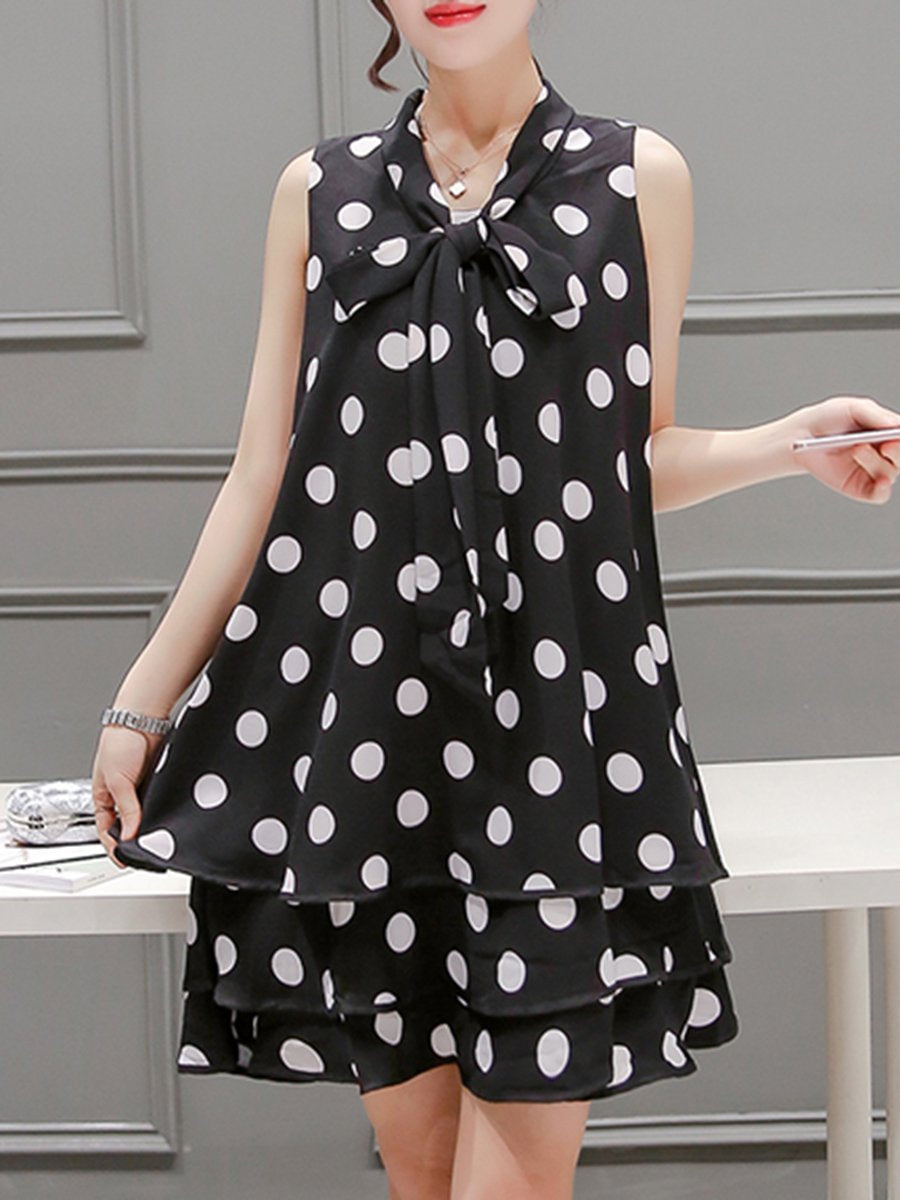 Tie Collar Polka Dot Chiffon Shift Dress