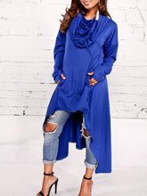 Load image into Gallery viewer, Hooded Plain High-Low Kangaroo Pocket Maxi Dress