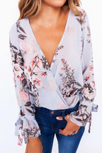 Load image into Gallery viewer, Surplice  Bowknot  Floral Printed Blouses