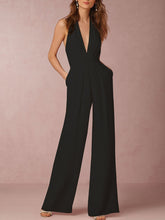 Load image into Gallery viewer, Halter Pocket Plain Wide-Leg Jumpsuit