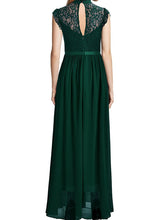 Load image into Gallery viewer, Band Collar See-Through Plain Chiffon Swing Maxi Dress