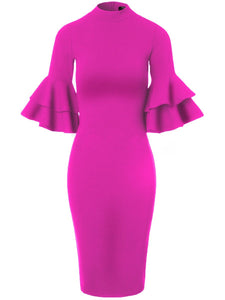 Vintage Bell Sleeve Solid Band Collar Bodycon Dress