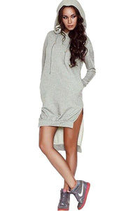Hooded  Asymmetric Hem Drawstring  Plain Casual Dresses