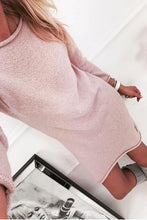 Load image into Gallery viewer, Round Neck  Asymmetric Hem  Plain Casual Dresses