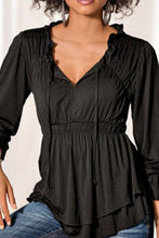 Load image into Gallery viewer, Asymmetric Neck  Ruffled Hem  Cascading Ruffles  Plain  Lantern Sleeve Shirts