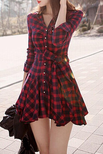 Turn Down Collar  Bow Single Breasted  Checkered Shirt Dresses