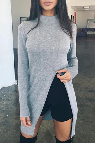Band Collar  Asymmetric Hem  Plain Sweaters