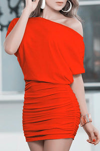 One Shoulder  Plain Pleated Bodice Bodycon Dresses