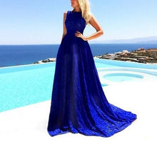 Load image into Gallery viewer, Blue Lace Expansion Evening Dress