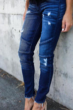Load image into Gallery viewer, Broken Holes Single Button  Patchwork Jeans