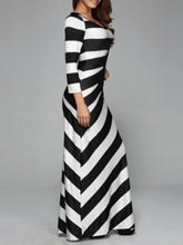 Load image into Gallery viewer, Black White Striped Round Neck Long Dress