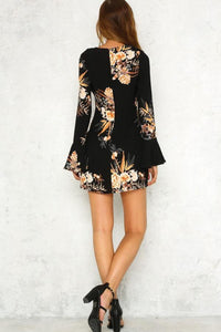 Round Neck  Floral Printed  Bell Sleeve Casual Dresses