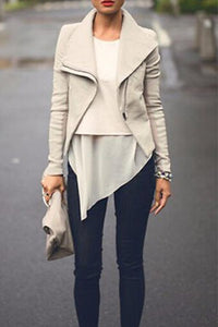 Cool Fold Over Collar  Zipper  Plain Jackets