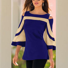 Load image into Gallery viewer, Open Shoulder Round Neck  Patchwork  Bell Sleeve Blouses